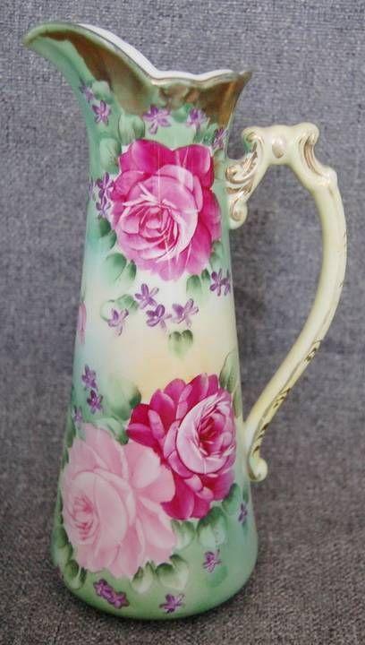 German Porcelain Ewer / Pitcher with Pink & Burgundy Roses
