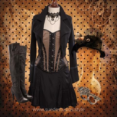 Suede Studios Style: mixes Mainstream with Steampunk to create 'Streampunk.' This montage features: Mesh Corset, Insidious Fix Cropped Jacket, Black Frill Skirt, Novo Knee High Boots, Velvet Top Hat, Victorian Cameo on Lace Choker, Double Finger Vintage Key Ring. www.suedestudios.style