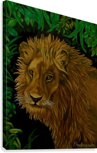 Canvas print, painting, art, lion, portrait, african, animal, wildlife, big cat, jungle, safari, savanna, wall art, wall decor, decorative items, green, brown, colorful, realism, pictorem