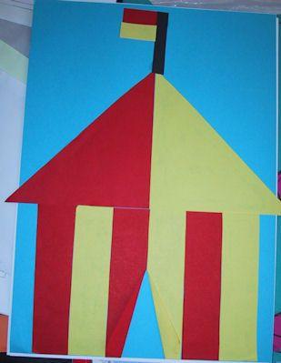 Circustent Dit heb je nodig : schaar lijm rode en gele vouwblaadjes Aan het werk: Pak 2 vouwblaadjes van 10 x ...