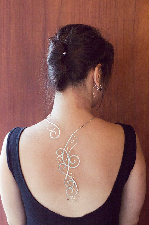 Hammered silver backlace by MirielDesign on Etsy