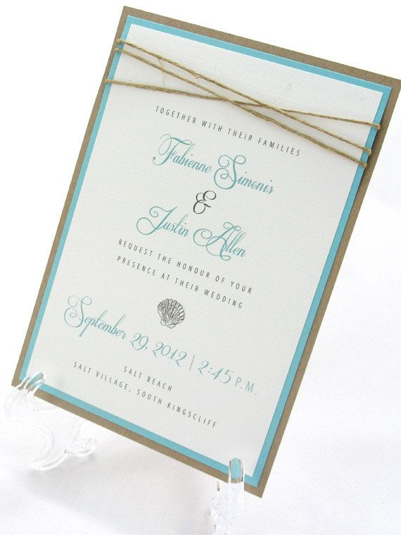 LOVE!!! Beach Wedding Invitation Seashells & by JacquelineAnnInvites Really cute