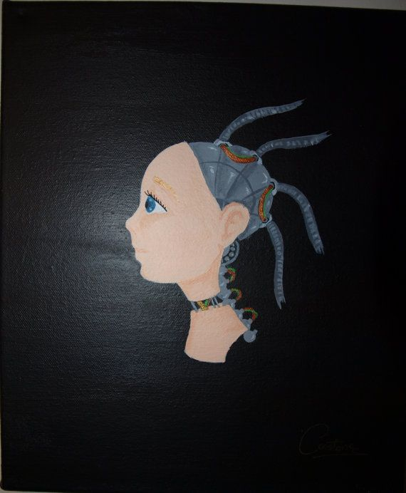 Cyborg girl by PaintingsbyConstance on Etsy  #painting #art #illustration #cyber #cyborg #scifi