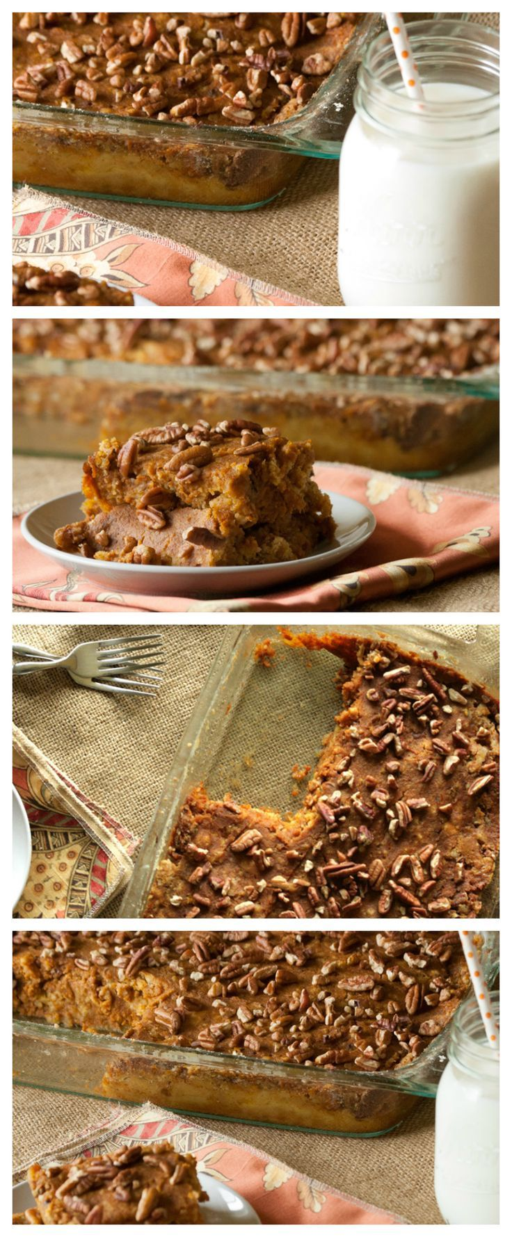 Pumpkin Dump Cake Recipe is SO easy to make and tastes great. This is a delicious way to enjoy a pumpkin dessert all year long. | #allshecooks