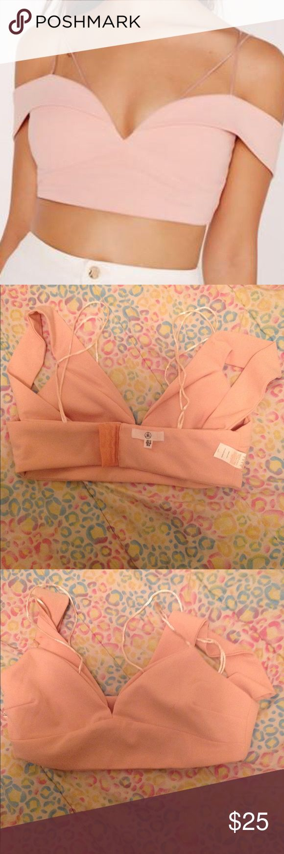Misguided Bardot strap bralette pink UK 12/US 8 Missguided Tops