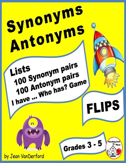 Word Lists for SYNONYMS and ANTONYMS in FLIPS - FLAPS for Interactive Vocabulary Notebooks . . . 100 SYNONYM pairs - Monster Theme and 100 ANTONYM pairs - Space Craft Theme, Gr. 3-4-5 . . . I have . . . Who has? Game, Beat the Clock Activity, Vocabulary Flash Card Template, and Award Certificate . . . Using lists have never been more fun! © Jean VanDerford #teachersherpa