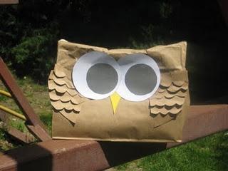 Paper bag owl pinata