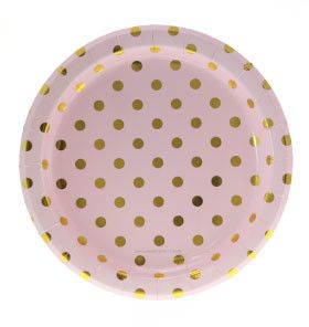 Pink with Gold Foil Polkadot Plates