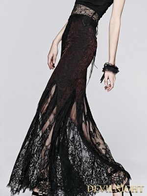 Black Wine Red Fashion Gothic Lace Fishtail Skirt