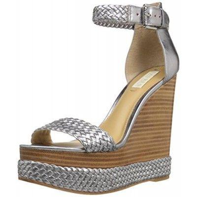 Lauren Ralph Lauren Women's Mahina Wedge Sandal, New Silver Metallic Kidskin, 5 B US