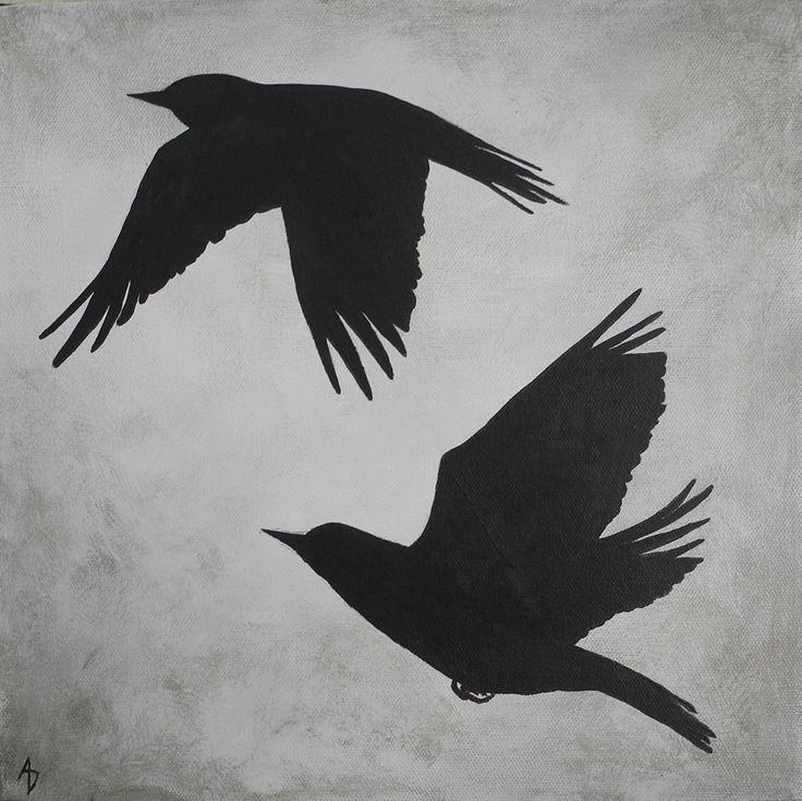 Silhouette Bird Flight Painting, Bird Shadow, Modern