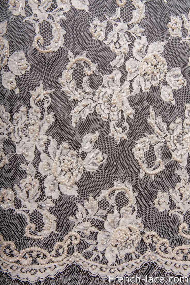 We have only one small 0.85 meter cut left of this fabulous beaded ivory lace, don't miss it! http://french-lace.com/product/pearl-90-b-ivory/ Only 300 USD!