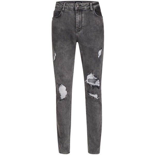 TOPMAN Antioch Washed Black Ripped Stretch Skinny Jeans ($63) ❤ liked on Polyvore featuring men's fashion, men's clothing, men's jeans, black, topman mens jeans, mens skinny jeans, mens super skinny ripped jeans, mens ripped skinny jeans and mens super skinny stretch jeans