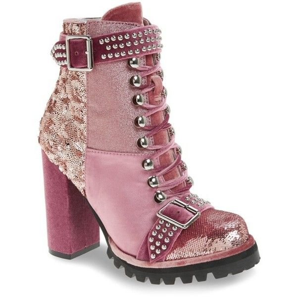 Women's Jeffrey Campbell Lilith Block Heel Bootie ($150) ❤ liked on Polyvore featuring shoes, boots, ankle booties, pink fabric, pink boots, velvet booties, pink ankle boots, ankle boots and block heel booties