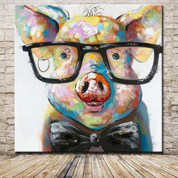 Handgemaltes Modernes Abstraktes Cartoon Tier Ölgemälde Auf Leinwand ein Schwein Tragen Glassess Wandkunst Für Wohnzimmer Home Decor