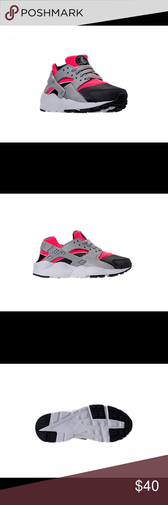 Brand new Nike Huarache Run Girls Nike Huarache Run Running Shoes Hot punch/wolf grey colors  Size 1Y UK 13.5 Nike Shoes Sneakers