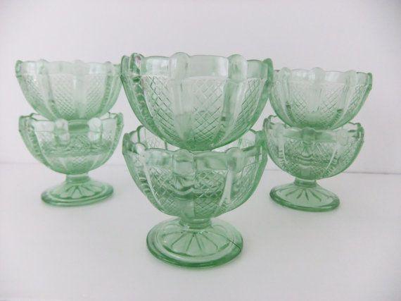 Art Deco Sundae Dishes - green glass
