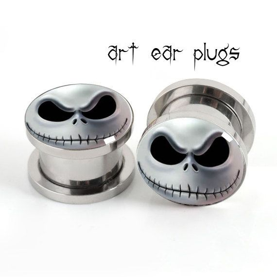 Skull  ear plugs ,surgical steel ear plug  ,Stainless steel  ear plugs,tapers and plugs,design your own ear gauges on Etsy, $14.61 CAD