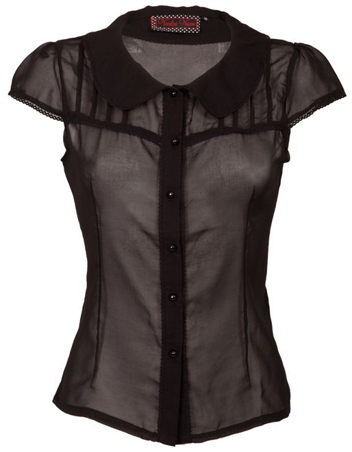 Voodoo Vixen Gothic Blouse in Black Chiffon [TPA1564] - $40.61 :