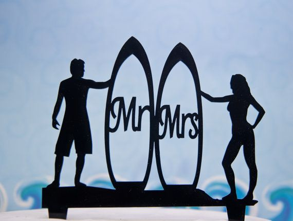 Surfers Wedding Cake Topper  Mr and Mrs by CakeTopperConnection