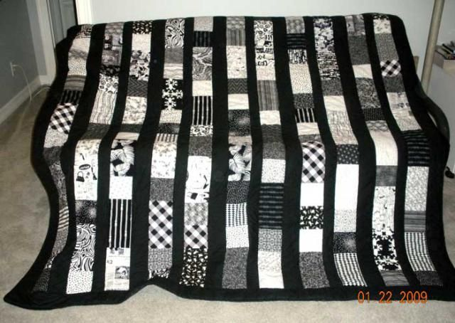Quilts Designed with Squares and Rectangles: Black and White Night Quilt