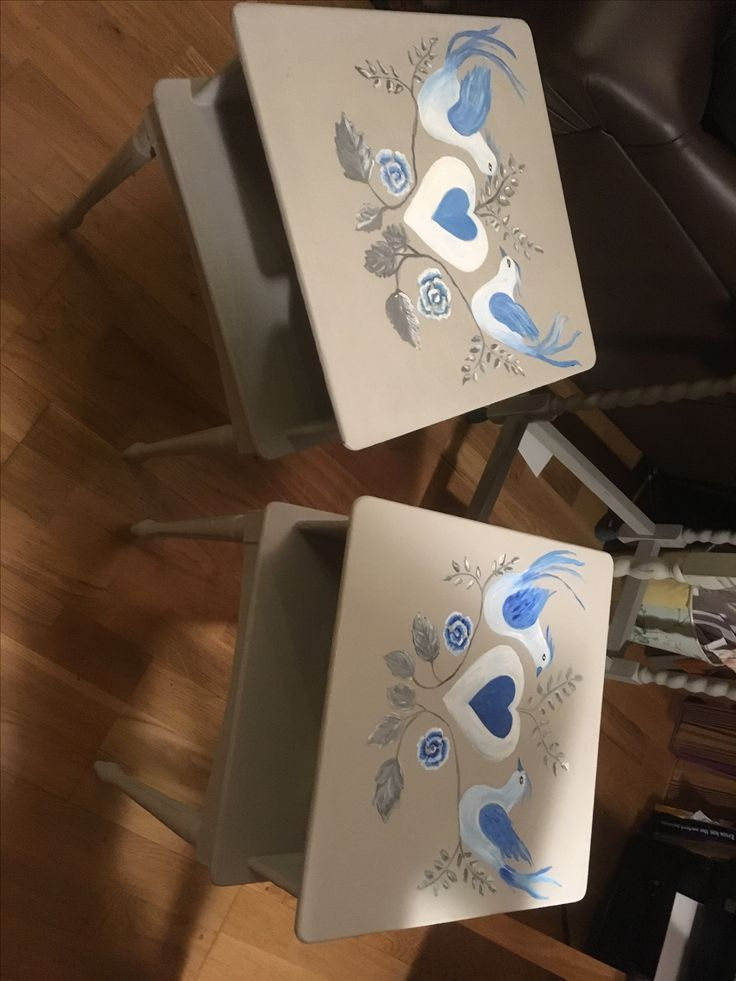 Hand painted bedside tables