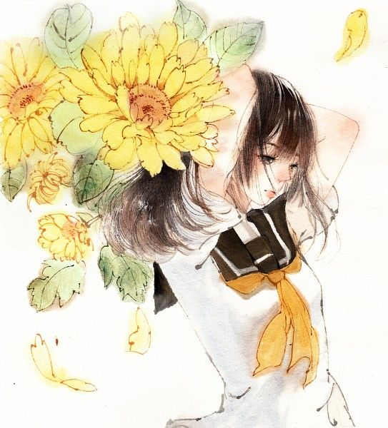Tags anime sunflower yellow flower looking down for How to draw a girl looking down