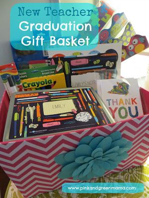 Pink and Green Mama: Graduation Gift Basket For A New Teacher With Personalized School Supplies #ChronicleBooks