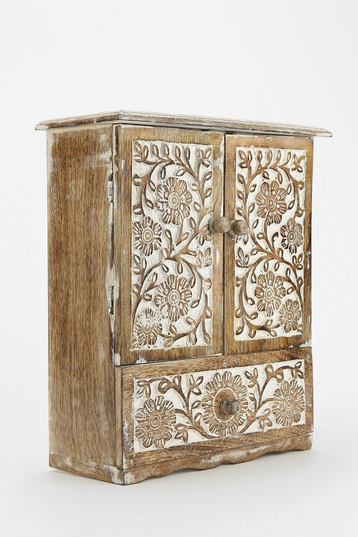 Wood carving designs furniture - Carved Wood Jewelry Cabinet Urban Outfitters