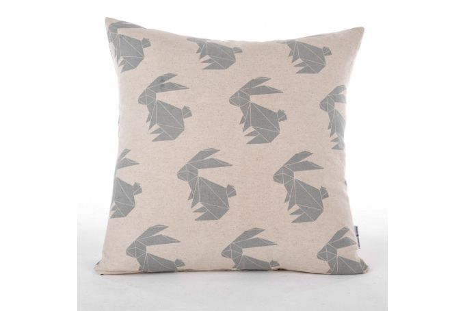 Gunmetal Origami Rabbit Scatter Cushion by ArtVraat Designs on hellopretty.co.za