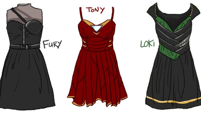 Seriously cute dresses inspired by costumes from The Avengers: Iron Man, Avengers Dresses, Dresses Design, Costume, Ironman, Dress Designs, Nick Fury, The Avengers, Loki Dresses