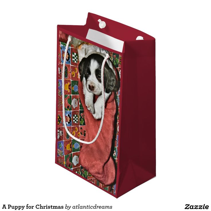 A Puppy for Christmas Small Gift Bag