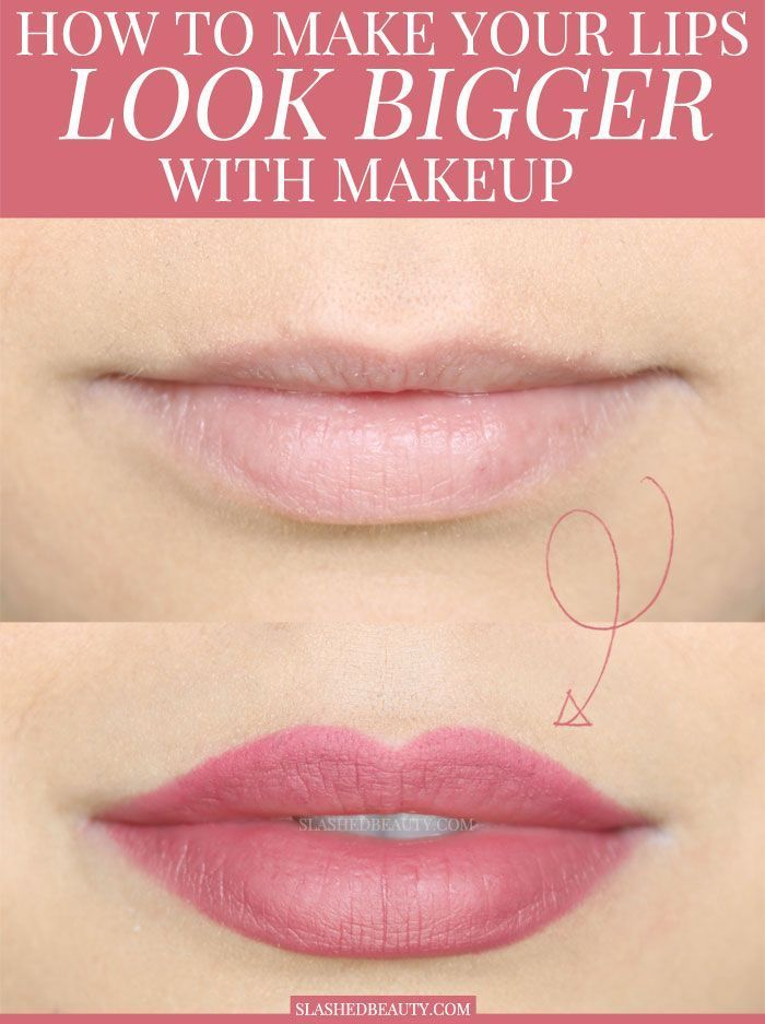 Overdrawing your lip liner is the best way to make your lips look bigger with makeup! Here's the right way to do it for a full pout that looks natural. #beauty #makeup #lipstick