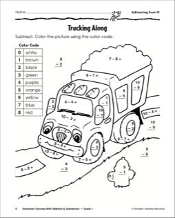 Subtracting from 10-Truck: Math Practice Page