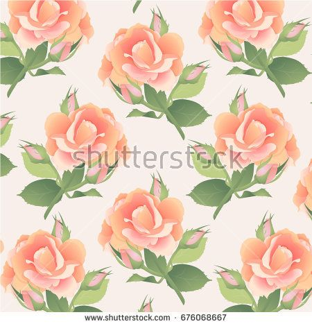 Pattern in pastel colors with a branch of a pink rose