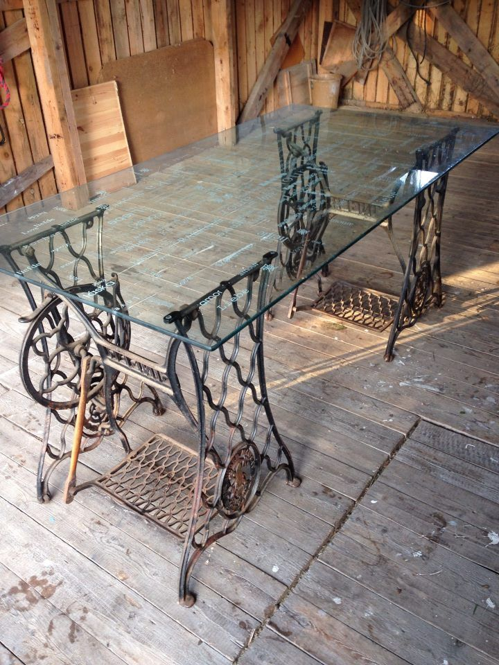 industrial_use of vintage sewing machine bases Use 2 full ones but I'd put a wood top on it.