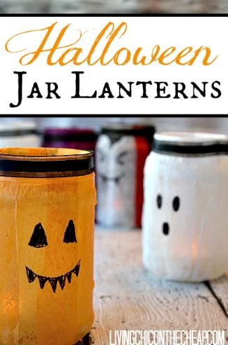 **DIY Halloween Jar Lanterns** Looking for a fun Halloween project to make with the kids? You might try these fun the Halloween Jar Lanterns. These adorable Halloween Jar Lanterns are made from up-cycled glass jars (like pickle jars). It was a great excuse to clean out the fridge. #haloweencrafts #halloweencraftsforkids