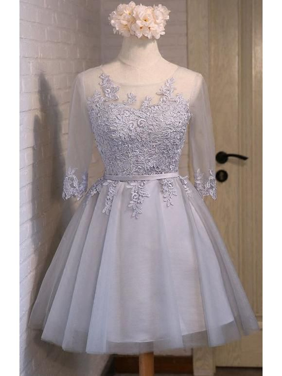 1efb3b6e7973 Half Sleeve Short Homecoming Dresses Grey Lace Applique Cheap Homecoming  Dresses ARD1209