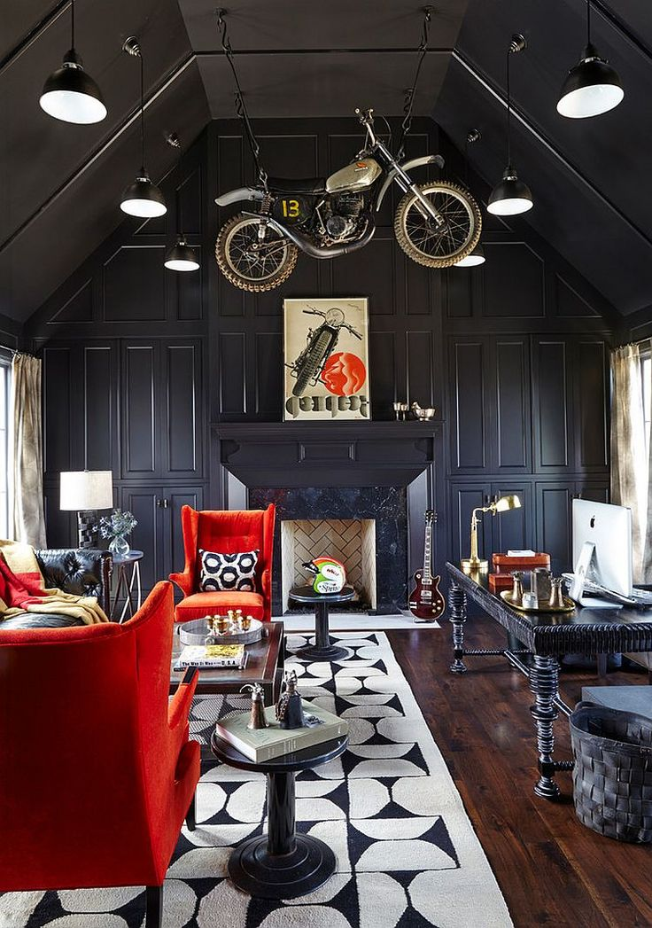 Awesome home office design with bike hanging in the air! [Design: Bonadies Architect]
