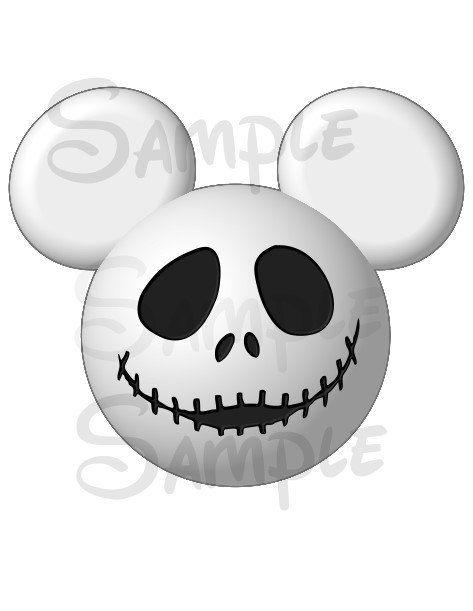 Jack Skellington inspired DIGITAL printable Mickey head file DIY on Etsy, $3.00