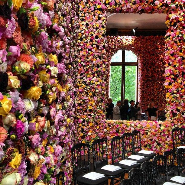 "DIOR, ""Flower galore at Dior for Raf Simons debut"", pinned by Ton van der Veer"