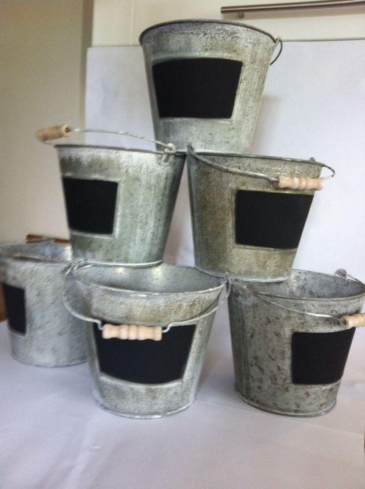 Job Lot x 6 Black/Chalkboard Metal Ice-Buckets, Planters Ideal Wedding/Pub/Cafe