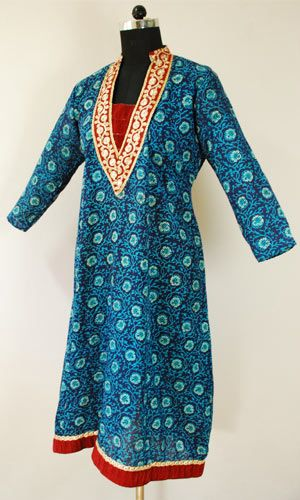 Perfect For Summer – Cotton Bagh Printed Embroidered Kurti with Zari Border on Yoke