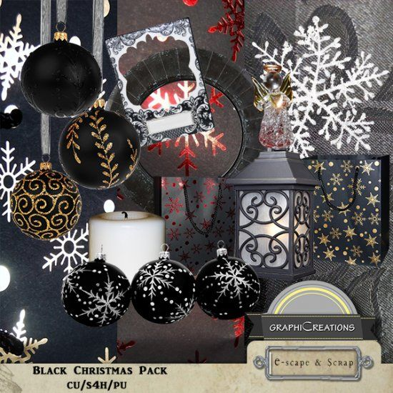 Black Christmas elements pack by Graphic Creations