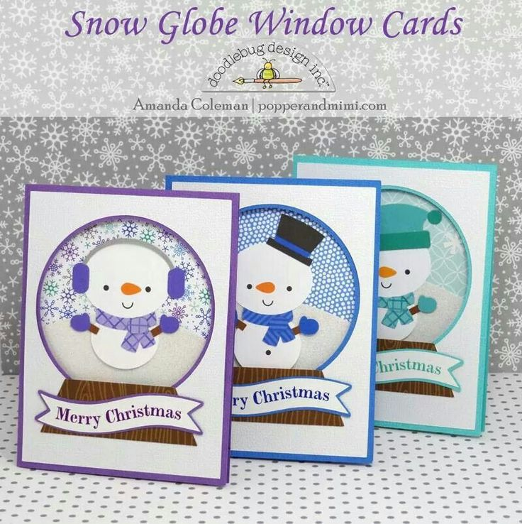 Snow globe window cards
