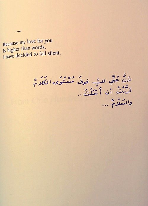Because my love for you is higher than words. I have decided to fall silent. ~ Nizar Qabbani