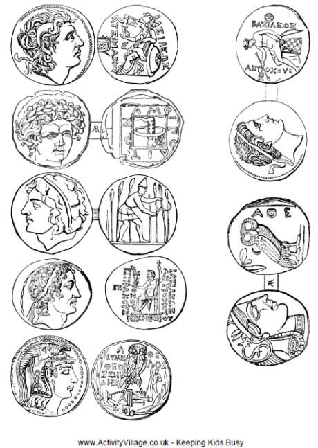Free printable coins from Ancient Greece to color and cut-out, then glue so that they're two-sided