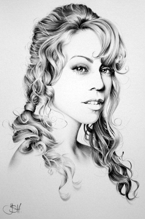 Mariah Carey Minimalism Original Pencil Drawing by IleanaHunter