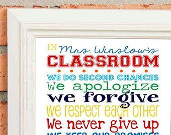 TEACHER GIFT Classroom Rules for High by LibertyAndLilacPaper