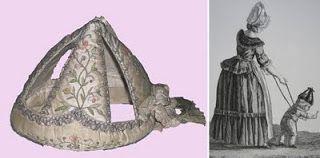 Bourrelet en satin de soie rebrodé, rembourré de carton, XVIIe siècle Château-musée de Saurmur sur Base Joconde  à dr. : Enfant en bourrelet...